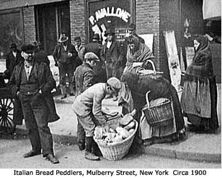 Italian Bread Peddlers, Mulberry Street, New York, circa 1900