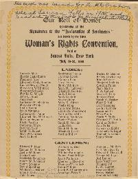 Report of the Woman's Right Convention Held at Seneca Falls