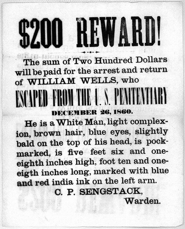 $200 Reward for an Escaped Prisoner