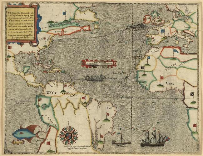 Francis Drake's Voyage in an Early Map