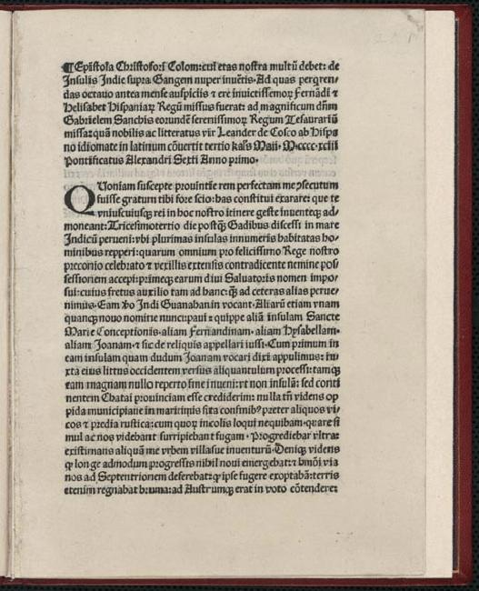 Epistola . . . de Insulis Indie nuper inventis (Letter Concerning the Islands Recently Discovered. . . .); wrtitten by Christopher Columbus, 1492