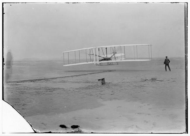 First flight,  Kitty Hawk, North Carolina, December 17, 1903.