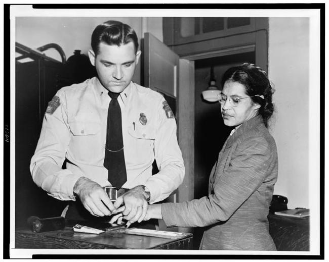 Mrs. Rosa Parks Fingerprinted in Montgomery, Alabama