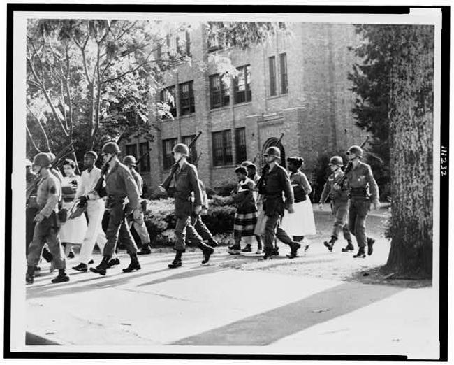 U.S. Troops escort African American students from Central High School, Little Rock, Arkansas