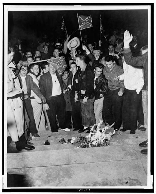 University of Alabama Students Protest Desegregation by Burning Desegregation Literature