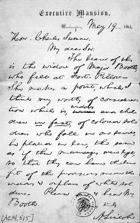 Letter, Abraham Lincoln To Charles Sumner Outlining the President's Belief That the Dependents of Black and White Soldiers Should Be Treated Equally