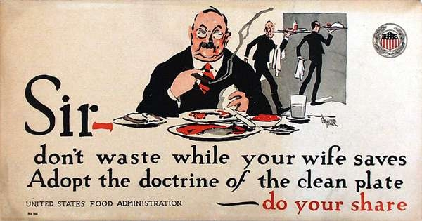 WW I Posters: Adopt the Doctrine of the Clean Plate