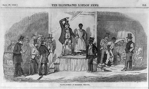 Slave Auction at RICHMOND VIRGINIA [Illustrated London News, Sept 27 1865]