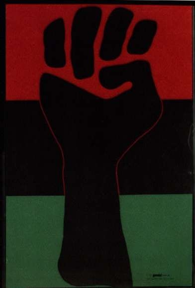 Clenched Fist On Red, Green, and Black Background