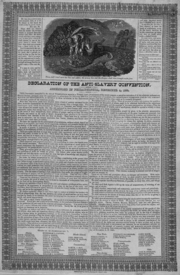 Thou Shalt Tread Upon the Lion and Adder…, Declaration of Anti-Slavery Convention Assembled in Philadelphia, December 4, 1833
