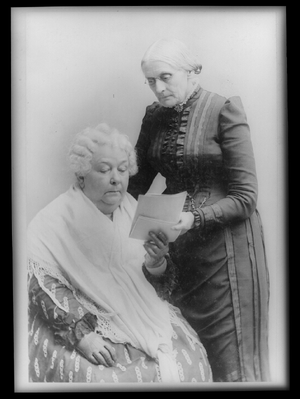 Elizabeth Cady Stanton, Seated, and Susan B. Anthony, Standing, Three Quarter Length Portrait