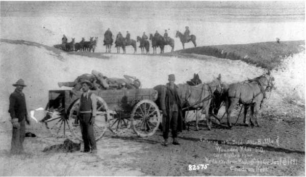 Gathering Up the Dead at the Battlefield of Wounded Knee, South Dakota