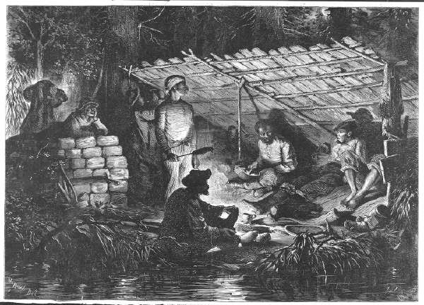 Group (Fugitive Slaves?) in Lean-To On River Bank, Illuminated By Firelight; From Harper's Weekly