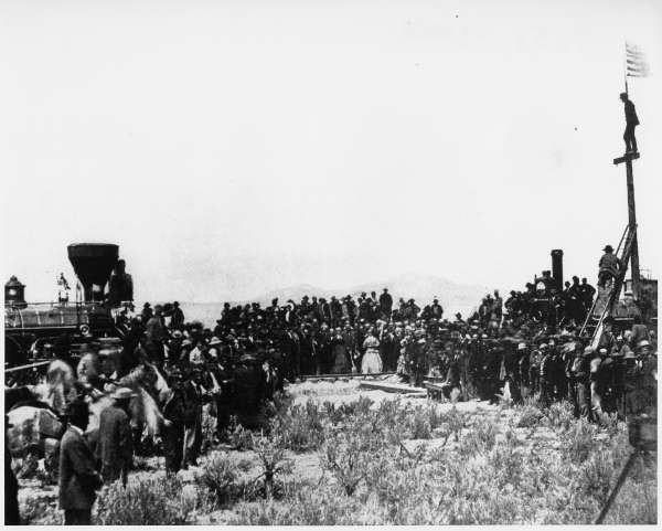 Joining the Tracks For the First Transcontinental Railroad, Promontory, Utah, Territory