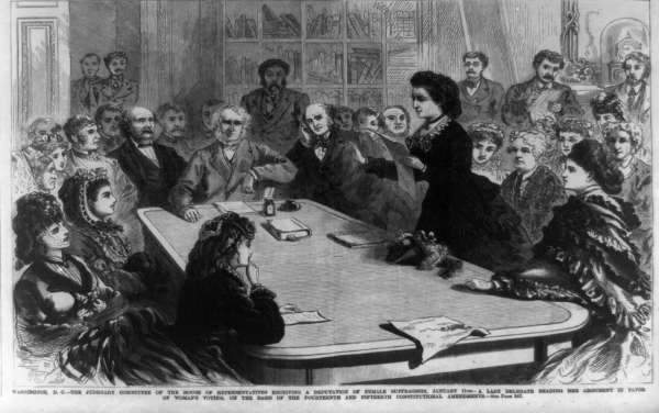 The Judiciary Committee of the House of Representatives Receiving A Deputation of Female Suffragists