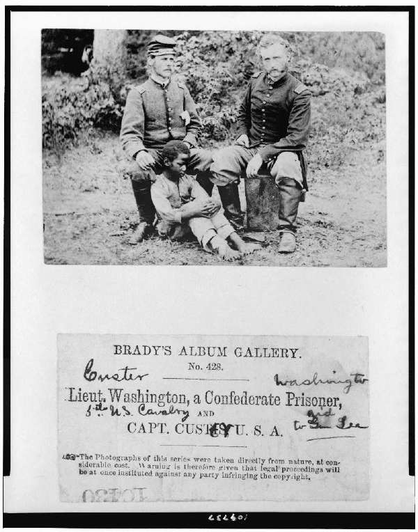 Lieut. Washington, a Confederate Prisoner, and Capt. Custer, U.S.A.