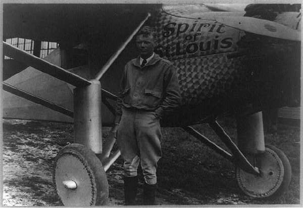 Charles Lindbergh, Full-Length Portrait, Standing, Facing Front, Beside the Spirit of St. Louis