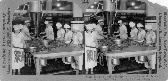 Making Link Sausages With the Aid of Machines Which Stuff Ten Feet Per Second, Chicago, Ilinois