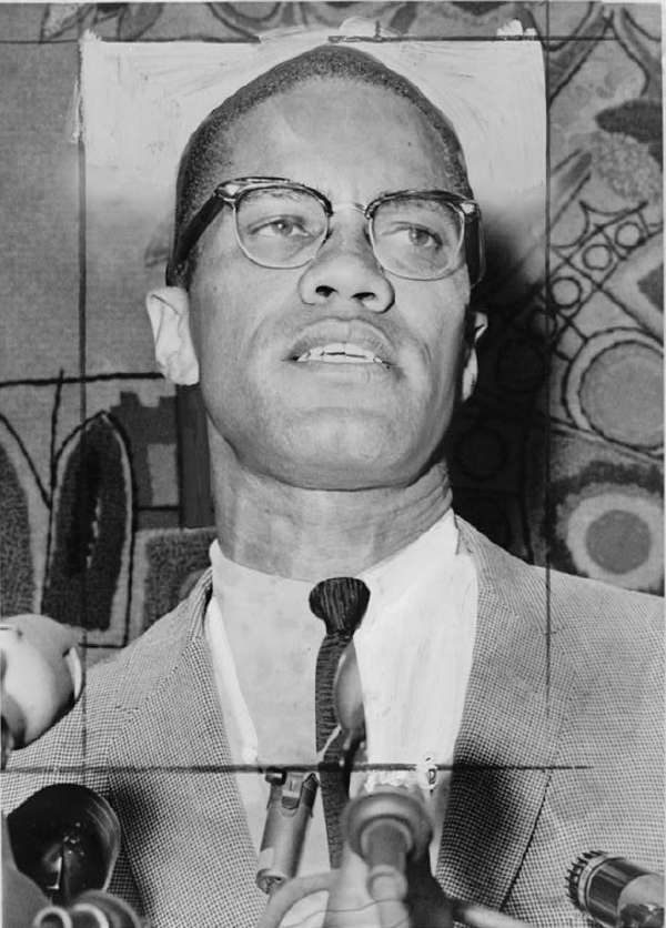Malcolm X, Head-and-Shoulders Portrait, Facing Slightly Right at Microphones