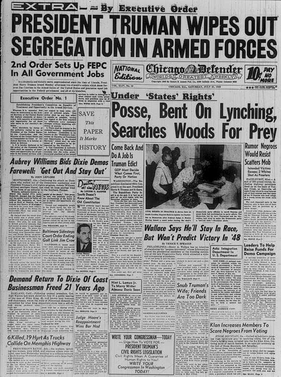 Newspaper Headline: President Truman Wipes Out Segregation in Armed Forces
