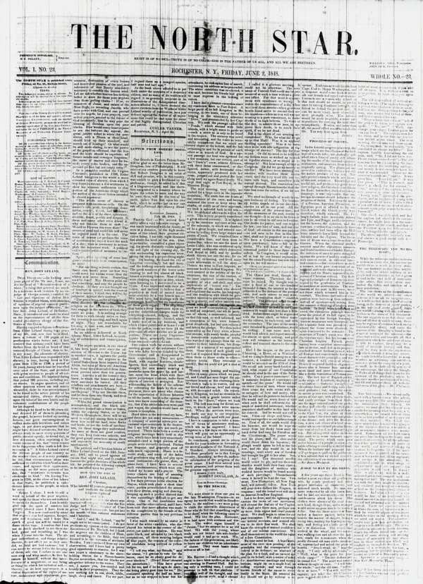 North Star, June 2, 1848.  Edited by Frederick Douglass and Martin Delany