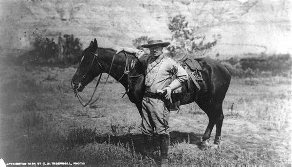 Theodore Roosevelt, Full-Length Portrait, Standing Alongside Horse, Facing Left; Wearing Cowboy Outfit