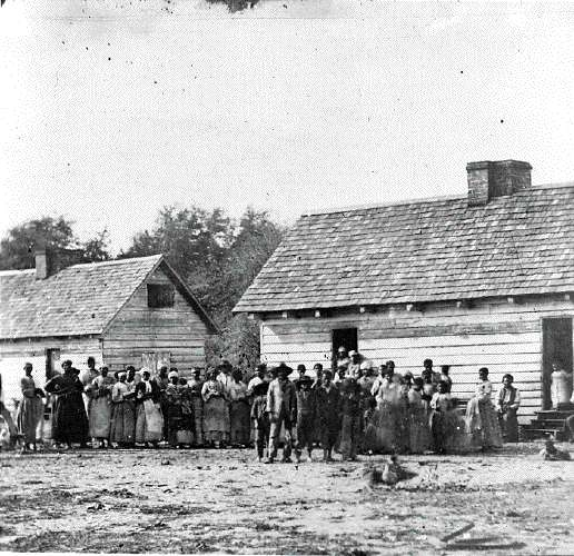 Large Group of Slaves Standing in Front of Buildings On Smith's Plantation, Beaufort, South Carolina