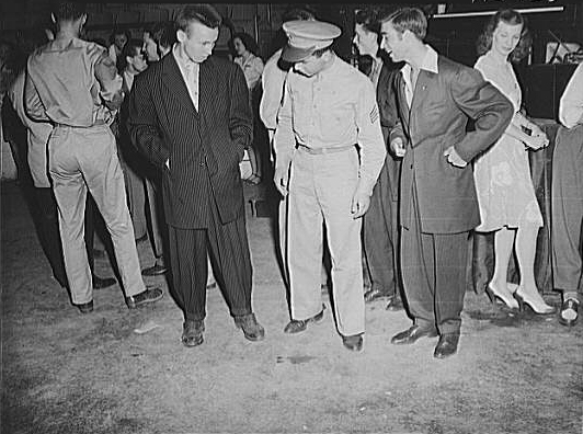 Washington, D.C. Soldier Inspecting a Couple of Men in Zoot Suits