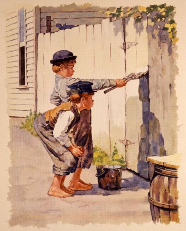 Tom Sawyer White-Washing the Fence