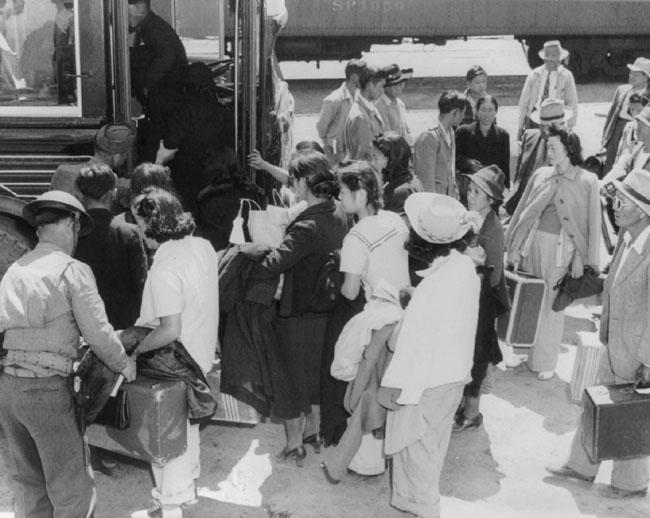 Boarding a Bus for Manzanar